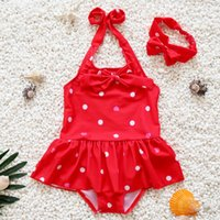 Wholesale Wholesale Youth Bow - Swimsuit Girls Swimwear Baby Swimwear Polka Dot Bow Rash Guard Youth Takini One Piece Kids Clothing Children Clothes