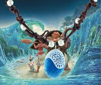 Wholesale Halloween Leather Costume - Hot Movie Animie Polynesia Princess Moana Necklace Girls Cosplay Costume Charm Pendant Necklace Handmade Braided Leather Rope Necklace