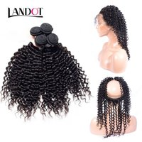 Wholesale Jerry Curly Virgin Brazilian Hair - 360 Lace Frontal Closures With 3 Bundles Brazilian Curly Virgin Human Hair Weaves Peruvian Indian Malaysian Cambodian Deep Jerry Curly Hair