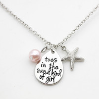 Wholesale Kind Girls - Fashion Personality Letter Pendant Necklace Toes In The Sand Kind Of Girl Imitation Pearl LM-N279