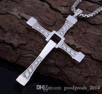 Wholesale Male Jewellery - 1pcs The Fast and the Furious Gold Sliver Plated Cross Pendant Necklaces Collier Dominic Toretto Bijoux Items Male Jewellery a395