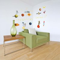 Wholesale Removable Wall Sticker Material - Wall Stickers Universe Space Eco Friendly Water Proof Removable Decal For Kid Room Matte Translucent Material Home Decorate 3hl F R
