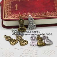 Wholesale Buddha Goddess - Wholesale-Antique Metal Zinc Alloy Religious Buddha Charms Jewelry Goddess of Mercy Pendant Charms Making 30pcs lot 14*27mm 7070