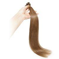 extensiones de cabello marrón claro ombre al por mayor-16 '' - 26 '' 0.8g / strand 200s / lot # 6 Light Brown U Tip Extensiones de cabello humano Keratin Pre Bonded U / Nail Tip 100% Remy cabello humano real
