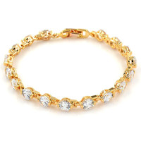Wholesale 18k Solid Gold Clasp - Luxury Bracelet 8mm Round Cut A+++ Zirconia Womens Bracelet Solid Wrist Chain 18k Gold Filled Wedding Bridal Elegnt Accessories 7.3""