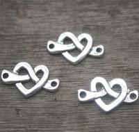 Wholesale Tibetan Silver Knot Charm Pendant - 25pcs-Love Knot Charm Connectors, Antique Tibetan silver Classic Heart Style, Love heart pendants 33x13mm