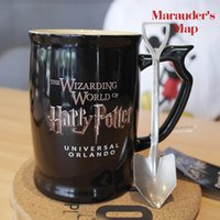 New Harry Potter The Marauder's Map Becher Die Zauberwelt der Harry Potter schwarze Kaffeetasse mit Ordnance Schaufel Löffel 600ml