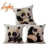 Wholesale Panda Memory - Cushion Funny Panda Nordic Cushion Cotton Linen Romantic Sofa Car Bedroom Chair Panda Home Decorative Throw Pillow Cojines