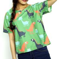 Wholesale Cute Dinosaur T Shirt - Wholesale-2016 Women's Fashion T-shirt Top Cute Cartoon Small Dinosaur Printed Loose plus sizeS-XL Short Sleeve Harajuku Ladies Shirt Tee