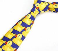 Wholesale Mother Duck - 8cm Men and Women Fashion funny ties Wedding ties Barney's How I Met Your Mother Ducky Tie Yellow Rubber Duck Neck Ties EMS LLFA