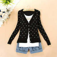 Wholesale Woman Heart Sweater - Wholesale-Free shipping BEST PRICE 2014 fashion women coat small love heart sweater PLUS SIZE cardigan knitted coat
