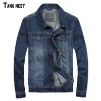 Wholesale Men S Jeans Jackets - Wholesale- TANGNEST Men Denim Jackets New Spring Style Men's Casual Thin Jacket Jeans Denim Blue Solid Coat S-3XL MWJ2320