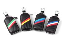caso remoto llave bmw al por mayor-1 unids auto camión vehical Car m negro potencia de rendimiento de fibra de carbono Remote Key Bag Case Holder cubierta para BMW