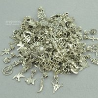 Wholesale New Tibetan Bracelet - Wholesale- New 50pcs mixed wholesale metal charms tibetan silver big hole bead charm pendants fits European bracelets jewelry making 3121