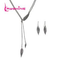Wholesale Vintage Antique Silver Long Chains - Vintage Jewelry Set Ethinc Antique Gold Silver Color Long Chain Leaf Pendant Maxi Necklace and Leaf Dangle Earrings