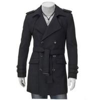 Wholesale Long Grey Trench Coat Mens - Wholesale- Mens Plus Size Slim Fit Trench Coat 4XL 5XL Black Grey Double Breasted Long Trench Coat Men Autumn Winter Men's Coat Jacket