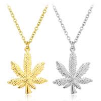 хип-хоп длинные ожерелья оптовых-Хип-хоп женщины NecklacePendant посеребренные кленовый лист кулон длинное ожерелье золотые цепи хип-хоп Bling Ожерелье для мужчин женщин