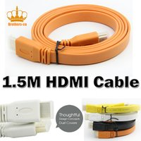 Wholesale Hifi Hdmi - Color Flat HDMI Cable 1.5m Wire 1.4 Version 24K for Video Hd Digital TV Plasma DVD Computer