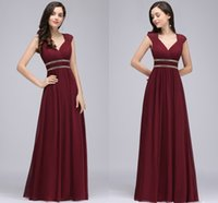 Wholesale Red Carpet Wedding Dresses - Burgundy New Designer Long Prom Dresses Cap Sleeves A Line Chiffon Formal Evening Gowns with Crystal Flow Wedding Guest Dresses CPS725