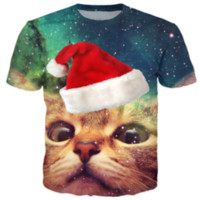 Wholesale Mens Galaxy T Shirt - Newest Fashion Mens Womans Cat Christmas Cap Space Galaxy Summer Style Tees 3D Print Casual T-Shirt Tops Plus Size
