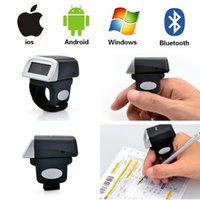 Atacado- Kercan Portable Wearable Ring Laser Scanner de código de barras 1D USB Reader Mini Bluetooth Scanner