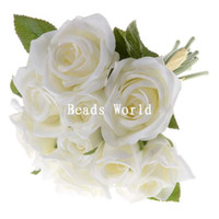 Wholesale Silk Rose Flower Bunches Wholesale - Wholesale-High Quality Export 1 Bunch White Silk Artificial Flower Rose Bouquet Wedding Home Decoration Party Decoration 27cm(W05778 X 1)