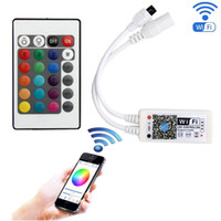 controlador de wifi ios al por mayor-WiFi Wireless LED Smart Controller DC 5-28V WiFi LED RGB RGBW Controller Android IOS APP para 3528 5050 LED Strip Light con control remoto