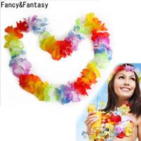 plaj tema partileri toptan satış-FancyFantasy Hawaiian Stil Renkli Leis Plaj Tema Luau Parti Garland Kolye Tatil Serin Dekoratif Çiçekler ücretsiz kargo