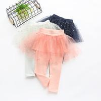 Wholesale Veil Leggings - 2017 Kids Girls Stars paillette Pantskirt Comfortable Net veil Leggings Spring Fashion Colorful Kids Pants Pantskirts G008