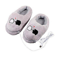 Wholesale Slippers Warming Usb - Wholesale- 1 Pair USB Powered Cushion Shoes Electric Heat Slipper USB Gadget Cute Grey Piggy Plush USB Foot Warmer Shoes