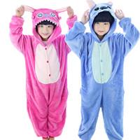 Wholesale onesies pajamas pyjamas resale online - Pajamas Winter Baby Boys Girls Children Christmas Pajama Set Flannel Stitch Animal Pajamas Kid Pajama Sets Onesies Children Pyjamas Kids
