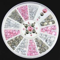 Wholesale Nails Gliter - Wholesale- 3d nail art decoration gliter rhinestone stud crystal nail wheel decoration diy nail tool ZP151