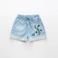 Wholesale Lace Jeans Short Girl - Baby Girls Denim Lace Short Pants Kids Girls Embroidered Floral Trouser Babies Fashion Jeans Pants 2017 childrens Summer clothing