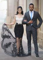 vestido preto laço completo longo venda por atacado-Branco preto Cheia Do Laço Sereia Vestidos de Noite Contas Cristais Sheer neck Ilusão Mangas Compridas Applique Formal Vestidos de Baile Vestido