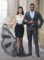 Wholesale Sheath Straps Floor Length - White Black Full Lace Mermaid Evening Dresses Beads Crystals Sheer neck Illusion Long Sleeves Applique Formal Prom Dress Party Gowns
