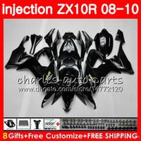 abs kalıp kalıbı toptan satış-Enjeksiyon kalıp Vücut Için KAWASAKI NINJA ZX 10 R ZX10R 08 09 10 47HM0 parlak siyah ZX 10R ZX1000 C ZX1000C ZX-10R 2008 2009 2010 Fairing kit
