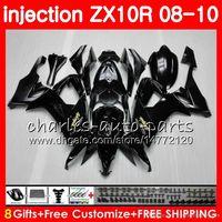 molde de carenado abs al por mayor-molde de inyección Cuerpo para KAWASAKI NINJA ZX 10 R ZX10R 08 09 10 47HM0 negro brillante ZX 10R ZX1000 C ZX1000C ZX-10R 2008 2009 2010 kit de carenado