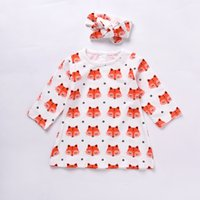 Wholesale Carton Set Girl - Cute Baby Girl Clothes Kids Carton Fox Long Sleeve Dress Tops Headband 2pcs Toddler Top Infant Clothing Set Lovely Cotton Child Outfit Sets
