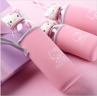 Wholesale Mini Glass Cups - 550ml pink Creative Portable lovely mini Hello kitty cup Water Bottles with tea Infuser High borosilicate glass+PC