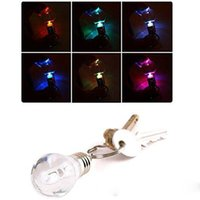 Wholesale Led Colour Changing Bulbs - Colour Changing Led Light Mini Bulb Torch Keyring Keychain rgb mini led keychain bulb RGB LED KEY RING BULB