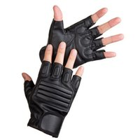 Wholesale Cool Mens Leather Gloves - Wholesale- Cool Male Mens PU Leather Driving Half Finger Gloves Fitness Fingerless Breathable Black Gloves Fashion Accessory Gifts