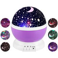 lampes de projecteur de lune achat en gros de-Étoiles Ciel étoilé LED Veilleuse Projecteur Luminaria Moon Nouveauté Table Veilleuse Batterie USB Veilleuse Pour Enfants Bébé