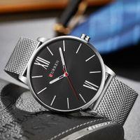 Wholesale curren watch band resale online - Curren Simple Men Quartz Watch Mesh Silver Black Gold Stainless Steel Band Relogio Masculino Sport Male Wristwatches