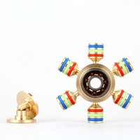 Wholesale 2017 Hexagon Hand Spinner Six Angle Aluminium Fingertips Spiral Fingers Gyro Torqbar Fidget With Heads Hand Spinner With Retail Box