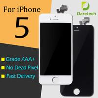 iphone 5 lcd screen оптовых-Для iphone 5 переднее стекло класса A + + + + ЖК-дисплей сенсорный дигитайзер полный экран с рамкой полная замена сборки 1 день Доставка