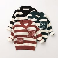 Wholesale Wool Blend V Neck Children - Baby Boys and Girls Knit Striped Pullover Babies Fashion Letter Sweater Kids Cartoon Jumper tops 2017 Children Clothing