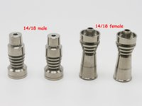 Wholesale Titanium Ti Nail 14mm 18mm Female - Two function Domeless Titanium Nail Ti Nail 14mm 18mm Male 14mm 18mm female Grade 2 GR2 Titanium Nail fits Wax Dab HoneyComb dome