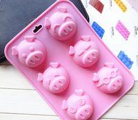 Wholesale Pig Soap Mold - 100 pcs lot 100% Silicone pig cake mold cake pans,baking pans silicone soap mold,FDA+free shipping
