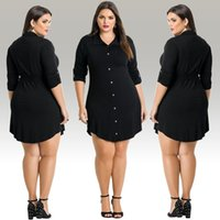 Wholesale High Stand Collar Dress Shirt - Fashion women casual style loose dress plus size L-3XL buttons design ladies long T-shirt dresses high quality mini black dress