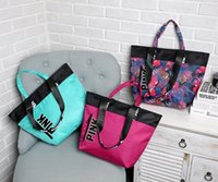 Wholesale Two Women Love - 2017 new style fashion bag Pink Letter Handbags Secret VS Shoulder Bags Women Love Large Capacity Travel Duffle Striped Waterproof Beach Bag